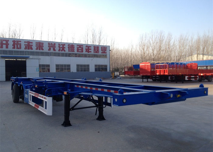 Three Axle 40ft Skeleton Container Semi Trailer Longer Life In Blue Color